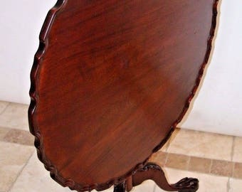 Antique Chippendale Mahogany Tilt Top Table Eagle Claw legs Original Brass lock safe insured nationwide shipping available call for rates