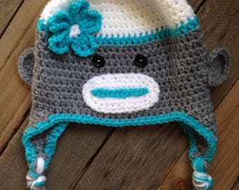 Crochet Sock Monkey Hat, Winter Hat, Photo Prop, Crochet Hat