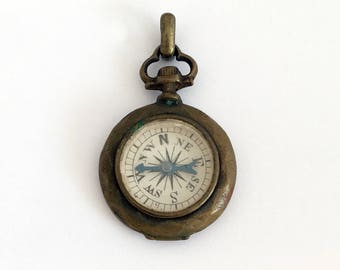 1910s Vintage French Compass Fob in Pocket Watch Shape