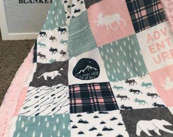 Girl Woodland designer Minky baby blanket