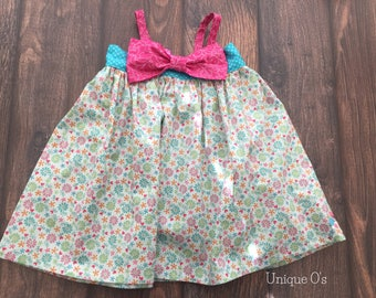 One of a kind girls Hattie spring and summer dress with detachable bow, 12-18 mo., ready to ship! Turquoise, pink and white floral