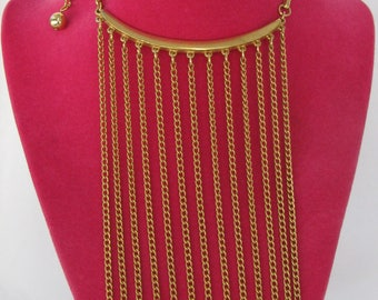 """Unique and Totally Retro Gold Chain Long 6"""" Fringe Bib Necklace, 16"""" Length, Rocker Chic"""