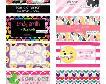 Back to School Labels, Unicorn Labels, Emoji Labels, Back To School Stickers, Printable Labels, Digital Files