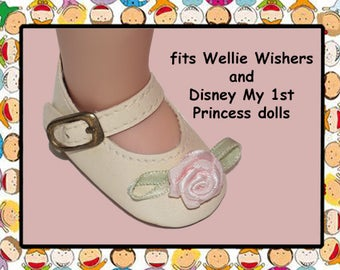 Vintage 2-1/8 inch x 1-1/8 inch Cream Mary Jane Doll Shoes / Disney My First Princess Toddler doll/American Girl Wellie Wisher
