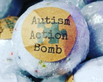 6 Autism Action Bath Bombs w/Sensory Orbeez Water Beads Inside