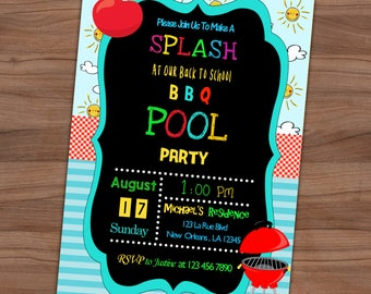 Back To School BBQ and Pool Party Invitation - End Of Summer Invite - Outdoor Kids Party - Printed or Printable - SHIPPING INCLUDED - 5x7