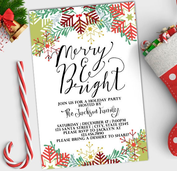 Christmas Party Invitation Card: Holiday Party Invitation Merry And Bright Christmas Invite