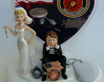 Wedding Cake Topper U.S. Marine Corps Themed USMC Ball and Chain Key Bride Groom's Cake Top Humorous Funny Dog Tag Flag Heart Fun w/ Garter