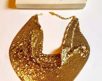 Whiting and Davis 1960s gold toned mesh cowl bin necklace