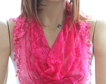 pink lace scarf  Summer lace scarf  Lace scarf Woman scarf scarves  floral scarf pink scarves pink headband lace headband hot pink scarves