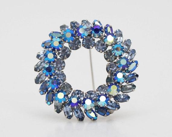 Vintage 1950s Blue Sherman Rhinestone Wreath Brooch