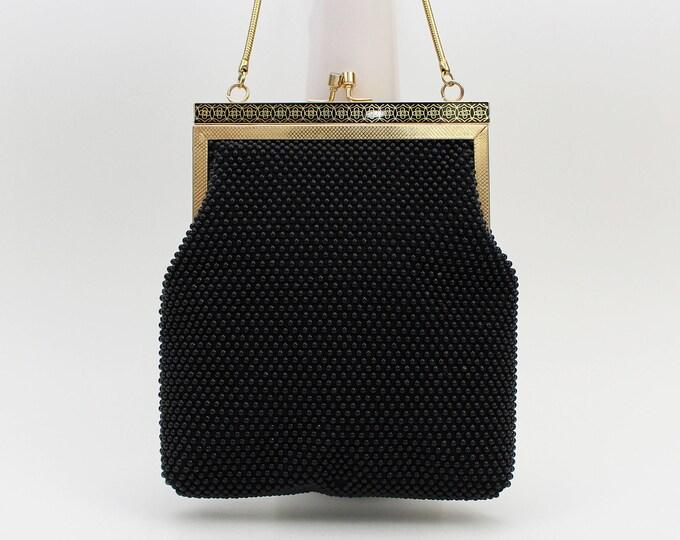 Vintage 1960s Black Beaded Evening Bag