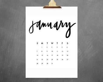 Printable 2018 Calendar Hand Lettered // Digital download, Hand Lettered Calendar