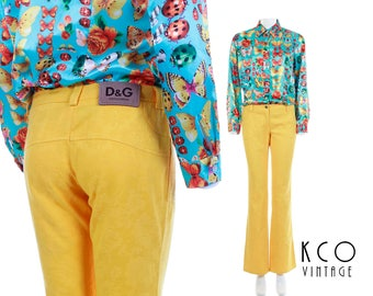 Vtg DOLCE and GABBANA Yellow Pants Floral Embossed Low Rise Flared Trousers 90s Y2K D&G Vintage Women's Size XXS Petite