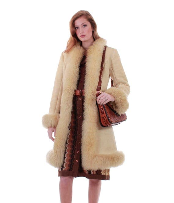 Penny Lane Coat Shearling Coat Sheepskin Jacket 70s Afghan