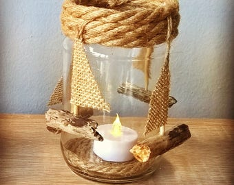 Country Style Tealight With sailboats - Wedding - Home Decoration - LED included - Handmade Sailboats - SET OF 2