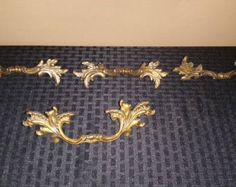 Set of 3 Vintage Brass Drawer Handles Pulls Ornate Feathers