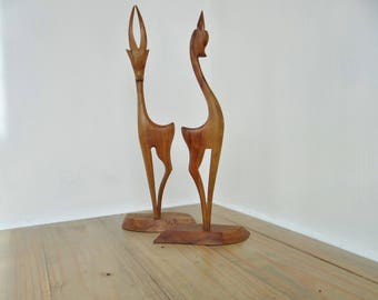 Vintage Wooden Antelopes, Stylised Kitsch pair of Figurines, African Sculptures, Circa 1960s