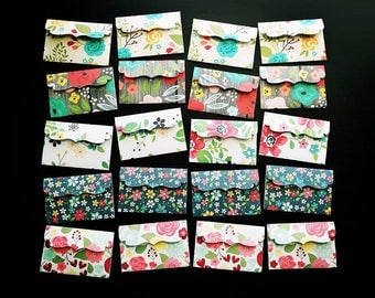 20 Handmade Gift Card / Tip Envelopes / Gift Card Envelopes / Money Envelopes / Cash Envelopes / Envelopes / Flower Envelopes / Floral