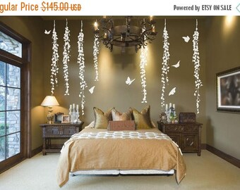 CLEARANCE SALE Tree Wall Decal  White  Wall Decal- Wall Decor  Vine Wall Decal Butterfly Decor Tree Vinyl Decal  Tree Decal Bedroom Wall Dec