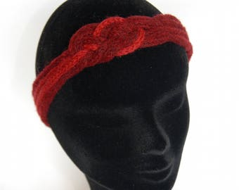 fashionable 53 knitting dark red and light red sailor knot headband