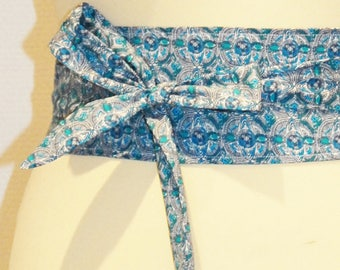 66 African geometric pattern blue/turquoise/white fabric tie belt