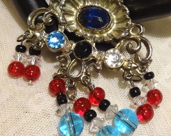 Vintage Blue and Red Glass and Clear Crystal Dangly Bead Brooch