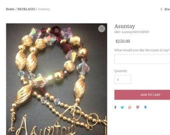 WIRE NAMEPLATE/Gold Beaded Necklace/14k gold filled/handmade/Ruby/Birthstone
