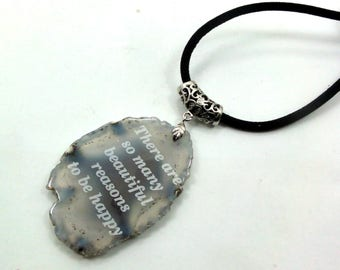 Natural Agate  Engraved Necklace Jewelry Gift Israel Love gift