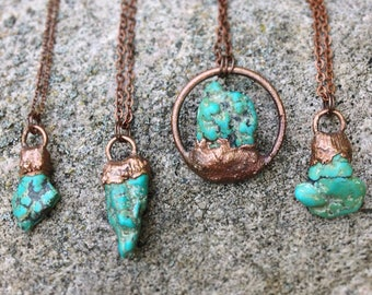 Raw Turquoise Necklace- Earthy Turquoise Copper Necklace