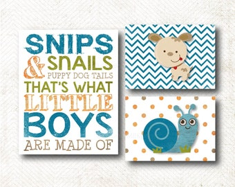 Snips and snails and puppy dog tails, Nursery Art, Art Print Set