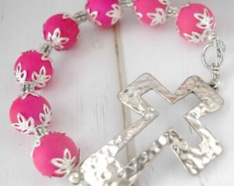 Christian Bracelet Jewelry    Bracelet Gift For Christian, Pink Bracelet For Her, Christian Jewelry Bracelet, Communion Gift, Gift For Her