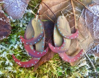 Tan and Red Tentacle Earrings Made From Recycled Xtra Tuf Boots in Sitka, Alaska
