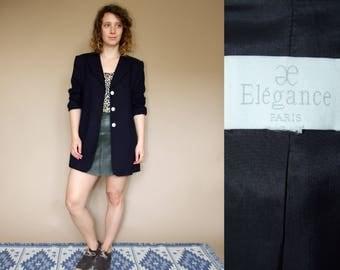 80's vintage women's dark blue minimal chic Elegance Paris blazer
