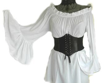 Plus XL 2XL Renaissance Chemise & Corset Set Blouse Pirate Shirt Top Steampunk Wench Victorian Medieval  2 Colors