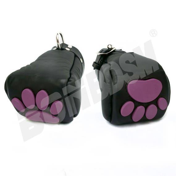 Bonbdsm - Leather Bondage Puppy Fist Mittens Mitts With -2336