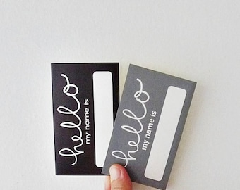 Black & Grey Hello Name Sticker, Name Labels, Name Tag Stickers, Hello My Name Is Sticker