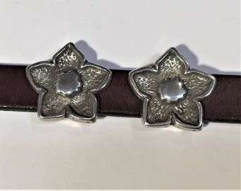 10mm Flat Leather Sterling Silver Plated 5 Point Flower Sliders, Leather findings. Jewelry supplies, Bracelet making, Regaliz brand, Kallyco