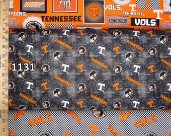 NCAA University of Tennessee Vols Orange & White College Logo Cotton Fabric by Sykel! 16 Options [Choose Your Cut Size]