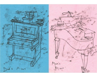 Mum and Dad's Pianos- Poster Monoprint Funny Doodle Musical Print