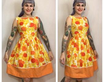 Vintage 1950's Orange Floral Dress
