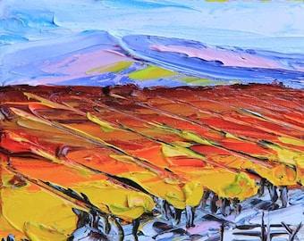 Original Painting, Vineyard Vines, Napa Valley, 6x6, Landscape Painting, California Art, Palette Knife, Textured, Impasto Art, Colorful Art