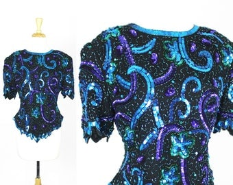 Vintage Sequin Blouse Laurence Kazar Size Large Blue Purple Beaded