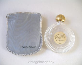 Houbigant Chantilly Vintage Mini Perfume Bottle Miniature Lay-Down Round Glass, with Pouch