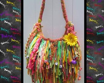 Custom fringe Bag,mermaid,whimsical,handmade purse,upcycled handbag,hippie,chic