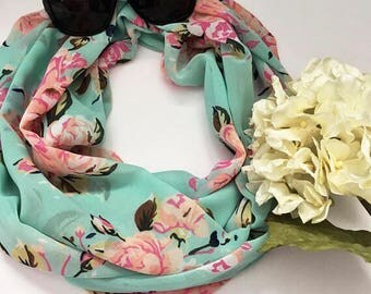 Turquoise Floral Sheer Scarf, Pink Floral Scarf, Floral Scarf, Women's Scarf, Gift for Her, Gift Under 20, Fashion Scarf, Infinity Scarf