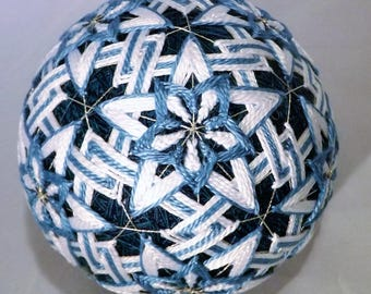 Japanese Temari Ball Teal w/ Teal flower and triangles