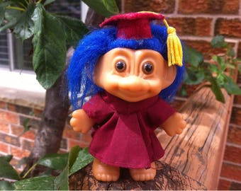 Troll Doll. Russ Troll Doll. Vintage Collectible Graduate Troll Doll Blue Hair Toy with Cap and Down