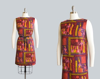 Vintage 1960s Dress | 60s Egyptian Novelty Print Cotton Sundress Psychedelic Shift Day Dress (small/medium)