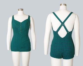 Vintage 1950s Swimsuit | 50s COLE OF CALIFORNIA Striped Knit One Piece Green Bathing Suit (small/medium)